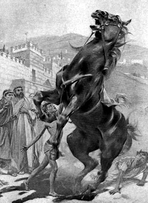 The darker story of how Alexander tamed the man-eating Bucephalus has been white-washed out of history in favour of a children's fairy tale, which states that the fierce horse was afraid of its shadow.