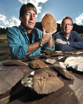 Douglas Bamforth, Anthropology professor for the University of Colorado at Boulder, left, and Patrick Mahaffy, show a portion of more than 80 artifacts unearthed about two feet below Mahaffy's Boulder's front yard during a landscaping project in 2008. © Glenn J. Asakawa/University of Colorado)