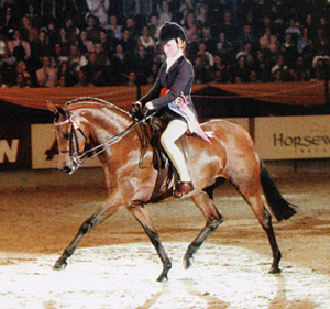 Six-year-old Rotherwood Rake-a-Peep and Alix Coster in the spotlight as champion riding pony at the Horse of the Year Show in 2003.
