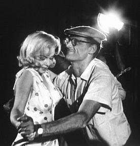 Marilyn Monroe and Arthur Miller on the set.