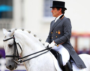 Spain's Juan Manuel Munoz Diaz and Fuego in the Team Dressage Grand Prix Special. London 2012