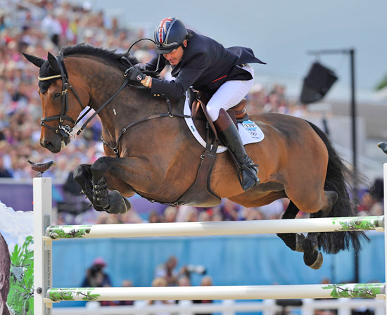 Peter Charles and Vindicat W help Britain to team gold at Greenwich Park at the London 2012 Olympics.