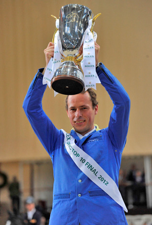 Christian Ahlmann (GER), the new World Number One in the Rolex Rankings, celebrates victory in last Friday's Rolex IJRC Top 10 Final in Geneva (SUI) with Taloubet Z.