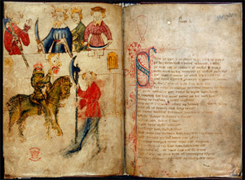 Sir Gawain and the Green Knight, Late 14th Century Manuscript, British Museum.