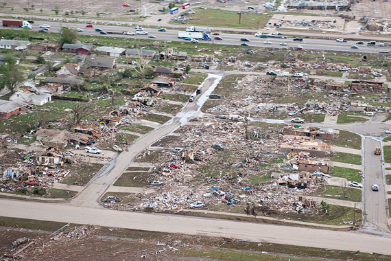 Tornado damage in Moore, Oklahoma.