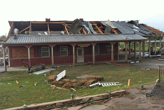 The Train Station at Orr Family Farm after the tornado. A picture of it before the tornado is below.