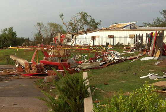 The vintage carousel at Orr Family Farm after the tornado. In the background is one of the barns at Celestial Acres. A picture of it before the tornado is below.