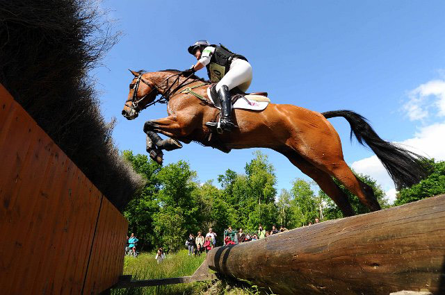 Eventer Piggy French and Tinka's Time tackle the cross country course at Saumur, France, in May 2013.