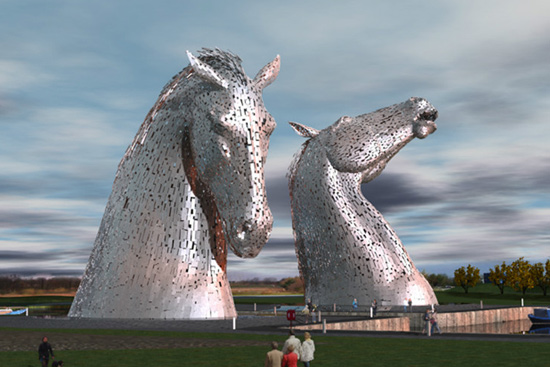 Artist's impression of the Kelpies.