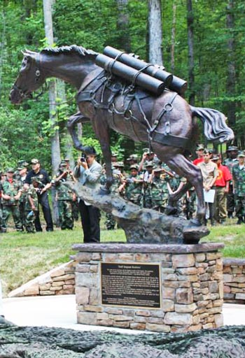 The statue of Staff Sergeant Reckless stands proud in
