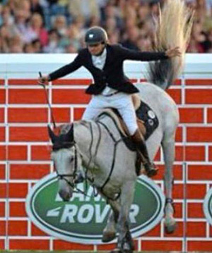 Daniel Bluman celebrates winning the puissance at Dublin on Clyde.
