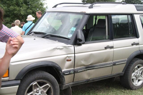 The official's Land-Rover after colliding with W. Iridium and Tom Rowland.