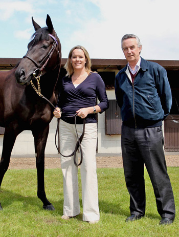 Genomics scientist Dr Emmeline Hill and Irish racehorse trainer and breeder Jim Bolger with Banimpire, a multiple-Group race winning racehorse. Hill and Bolger are the co-founders of Equinome.