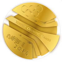 The Youth Olympic Games medal for Nanjing, designed by Slovakia's Matej Čička.