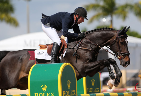 Eric Lamaze guides Zigali P S to victory in the $50,000 WEF Challenge Cup Round XI at the FTI Consulting Winter Equestrian Festival in Wellington, Florida.