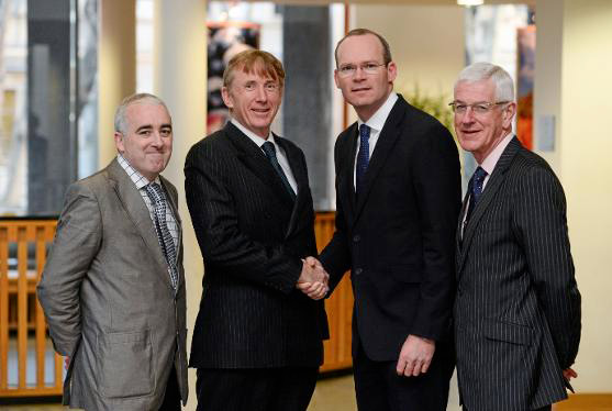 Pictured at the launch of the strategic planning process for Ireland's Sport Horse sector are Prof Cathal O' Donoghue, Head of Teagasc's Rural Economy Development Programme (Chair of the Working Group), Professor Pat Wall, HSI Chairman, Simon Coveney, Minister for Agriculture, Food and the Marine, and Michael Duffy, RDS CEO.