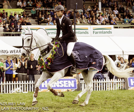 New Zealand Eventer of the Year, Clarke Johnstone on Balmoral Sensation.