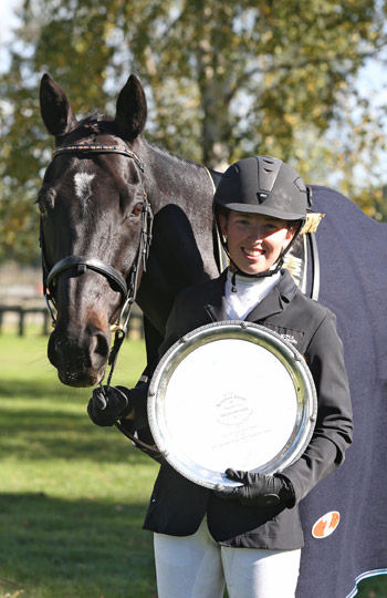 Kate Fleming and Mendelssohn with the Swarbrick Trophy for the CCI2* National Three Day Event Young Rider Championship.