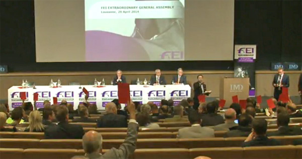 Several votes against extending the term for FEI Bureau members were received. © FEITV