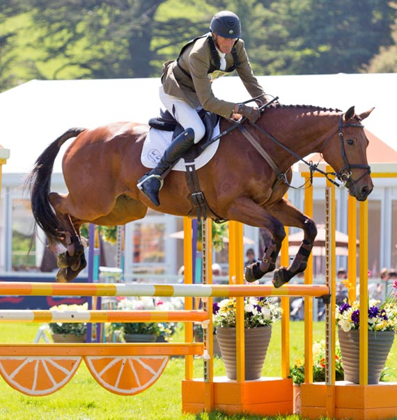 Mark Todd and Landslide finished second in a novice class at Chatsworth.