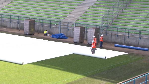 The beginning of the work at Ornano Stadium.