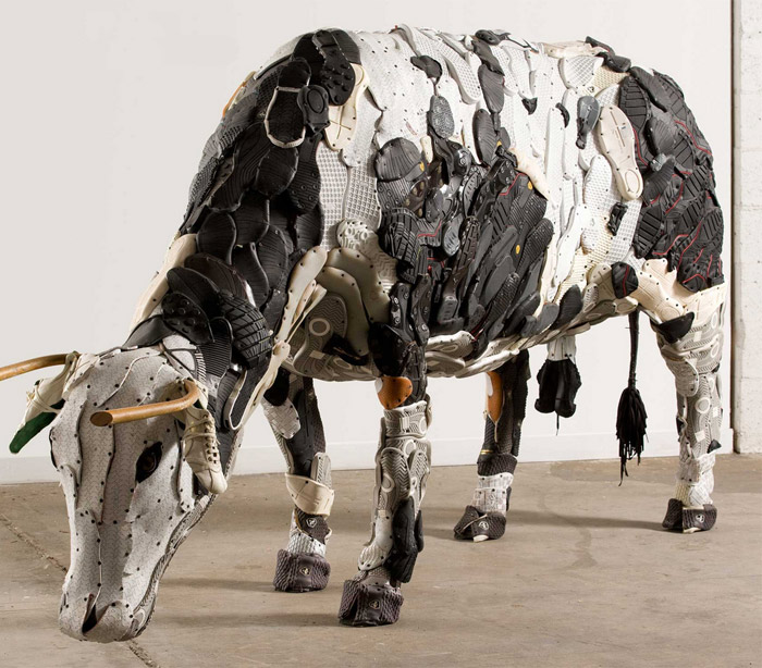 """Bull"", made from wood and shoe soles."