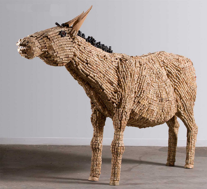 """Donkey"", which is made from wood and corks."