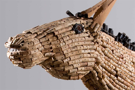 "Detail from Federico Uribe's ""Donkey"", made from wood and corks."