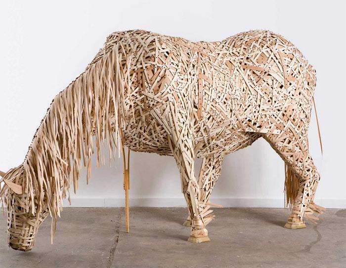 """""""Horse"""", wood and crutch."""