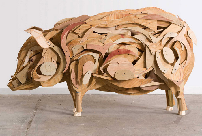 """Pig"" made of wood."
