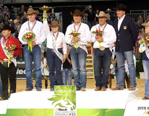 Members of the victorious US reining team enjoy their time on the podium.