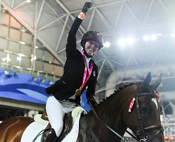 A jubilant Emily Fraser celebrates her victory on Exilio.