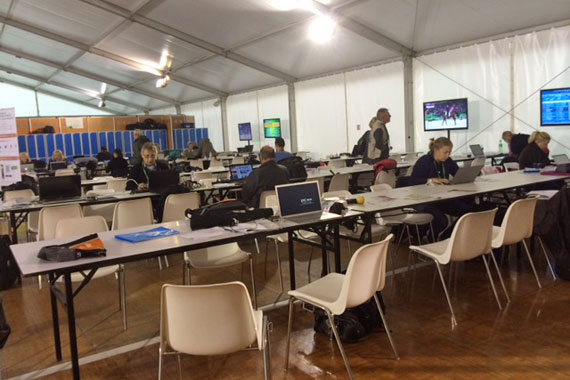 The media centre in Caen starts to fill up as the Games get under way.