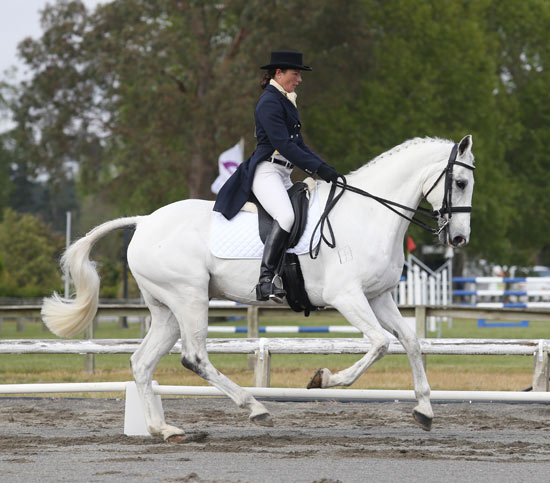 Emily Cammock and Dambala, who will be among the first out for their dressage test at Puhinui this morning.