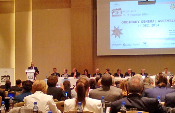 Newly elected FEI President Ingmar de Vos addresses the FEI General Assembly in Baku following his win over three other candidates. Outgoing president, Princess Haya, is at far right of the picture.