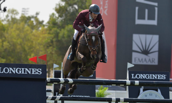 Khalid Al Emadi for the winning Qatar side, riding Tamira IV.