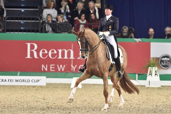 Ulla Salzgeber and Herzruf's Erbe won the seventh leg of the Reem Acra FEI World Cup Dressage 2014/2015 Western European League at Neumünster, Germany, on Sunday, where host-nation riders filled the top three places.