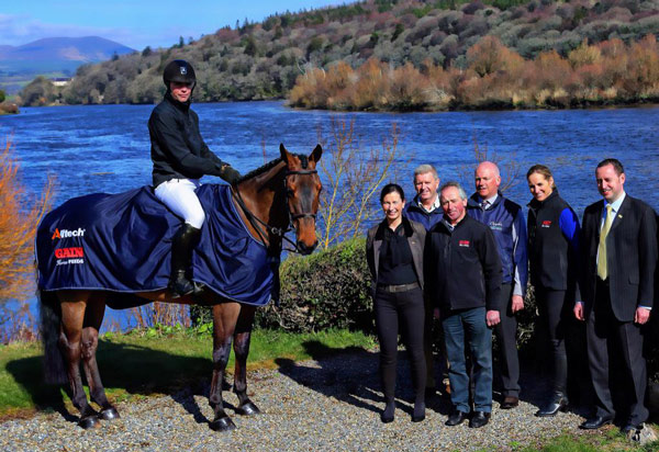 Gain Horse Feeds and Alltech will sponsor this year's Camphire International Horse Trials CIC*** in July. Pictured at the launch at Camphire House are Joanne Hurley, Irish Equine country manager for Gain Horse Feed; Allen Brady, or Camphire International Horse Trials; Michael Phillips, business manager for Gain; Paul Brady, of the Camphire trials; Mary Delaney, head of Equine Gain Horse Feeds; Fergal McAdam, regional sales manager for Alltech; and Paul Beecher on Loughnatousa Eric. Photo: Dan McGrath