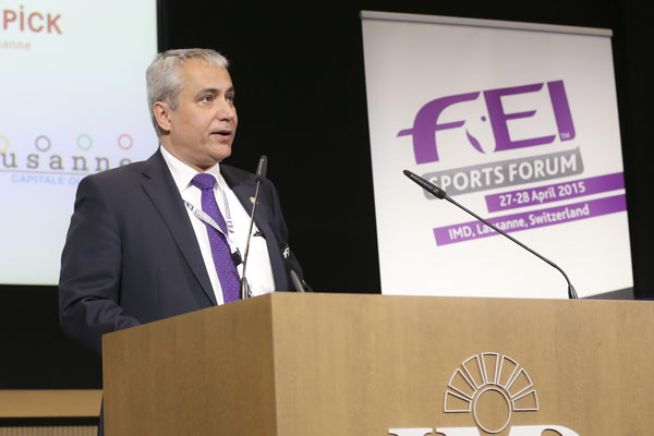 FEI President Ingmar De Vos, pictured at the FEI Sports Forum in Lausanne, Switzerland. Photo: Germain Arias-Schreiber/FEI