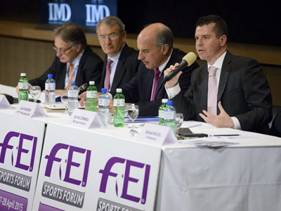 International Olympic Committeesports director Kit McConnell, right, addresses the FEI Sports Forum, in Switzerland last month.