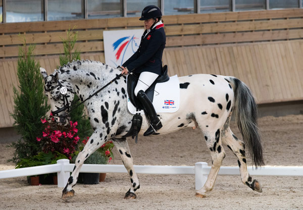 Anne Dunham and her Danish-bred knabstrupper-oldenburg cross stallion LJT Lucas Normark at the FEI Para-Equestrian Dressage European Championships in 2015.