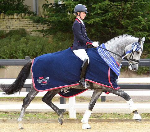 Charlotte Dujardin's Florentina won the five-year-old Shearwater Potential International Dressage Horse championships.