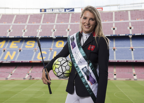 Jess Mendoza pictured at FC Barcelona's iconic Camp Nou stadium in the countdown to the Furusiyya FEI Nations Cup™ Jumping Final at Real Club De Polo de Barcelona later this month.