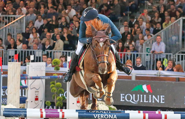 Simon Delestre and Hermes Ryan on their way to winning the Verona leg of the Longines FEI World Cup Jumping series on Sunday