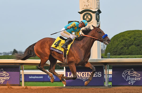 American Pharoah and Victor Espinoza in full flight.