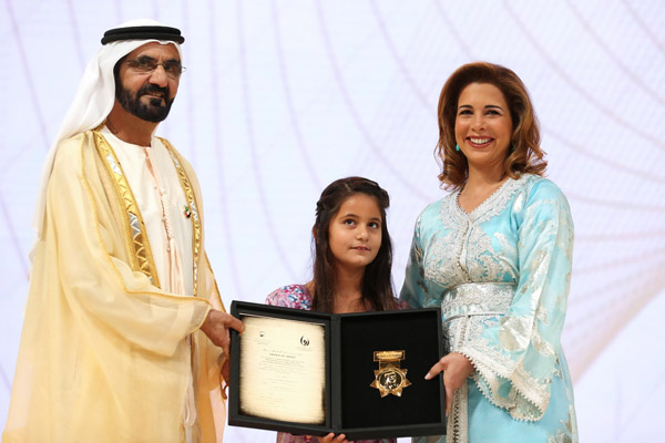 Sheikh Mohammed Bin Rashid Al Maktoum presents the Local Sports Figure award to Princess Haya at the seventh edition of the Creative Sports Awards.