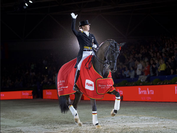 Germany's Isabell Werth won the seventh leg of the Reem Acra FEI World Cup Dressage 2015/2016 Western European League at the sold-out RAI Arena in Amsterdam on Saturday, riding Weihegold.