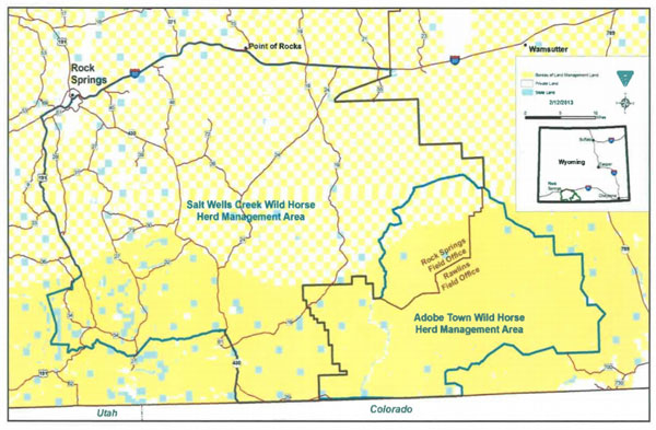 A map of the Adobe Town and Salt Wells herd management areas showing the extent of the Checkerboard lands. The yellow shows land under BLM control, the white shows privately owned land, and the pale blue is state land. Map: BLM
