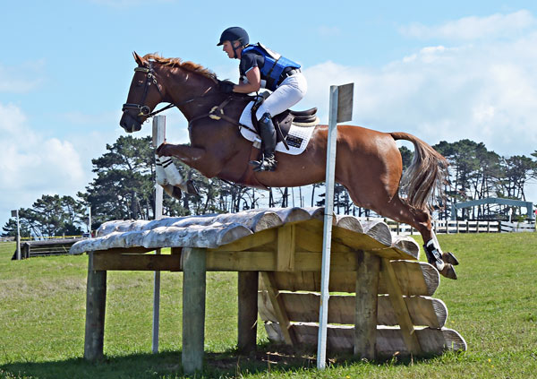Katharine Van Tuyl and Double J Sunshine on cross-country at Puhinui over the weekend.