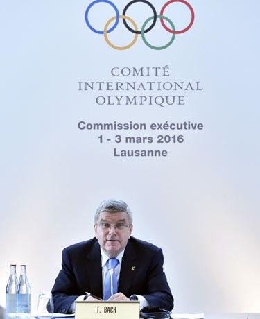 IOC President Thomas Bach at the committee's executive board meeting in Lausanne this week.